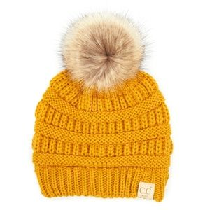 C.C Kids Solid Color Ribbed Beanie Hat W. Pom